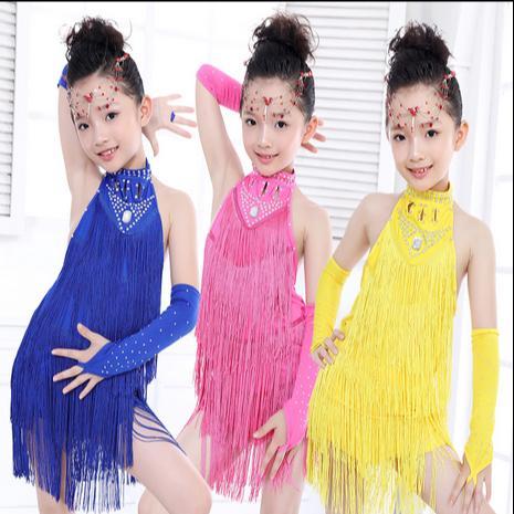 4732b9c1dc325 Acheter Danse Latine Enfants Frange Robe De Salsa Latine Enfant Filles  Costume De Danse Pas Cher Robe De Tango Robe Junior Robes De  27.65 Du  Michalle ...