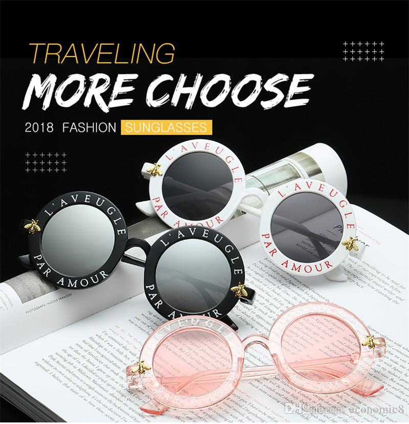 Trending products Bee designer brand luxury women sunglasses pink fashion round letter pattern vintage black retro sunglasses women