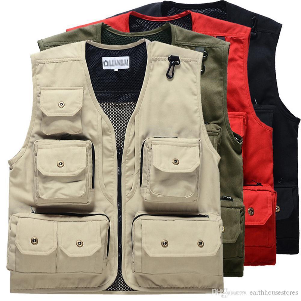 907f824547b9e2 Großhandel Männer Weste Sleeveless Jacket Style Casual Weste Mode Weste  Militärische Taktische Jacke Sweatshirt Multi Tasche Fischer Weste Von ...
