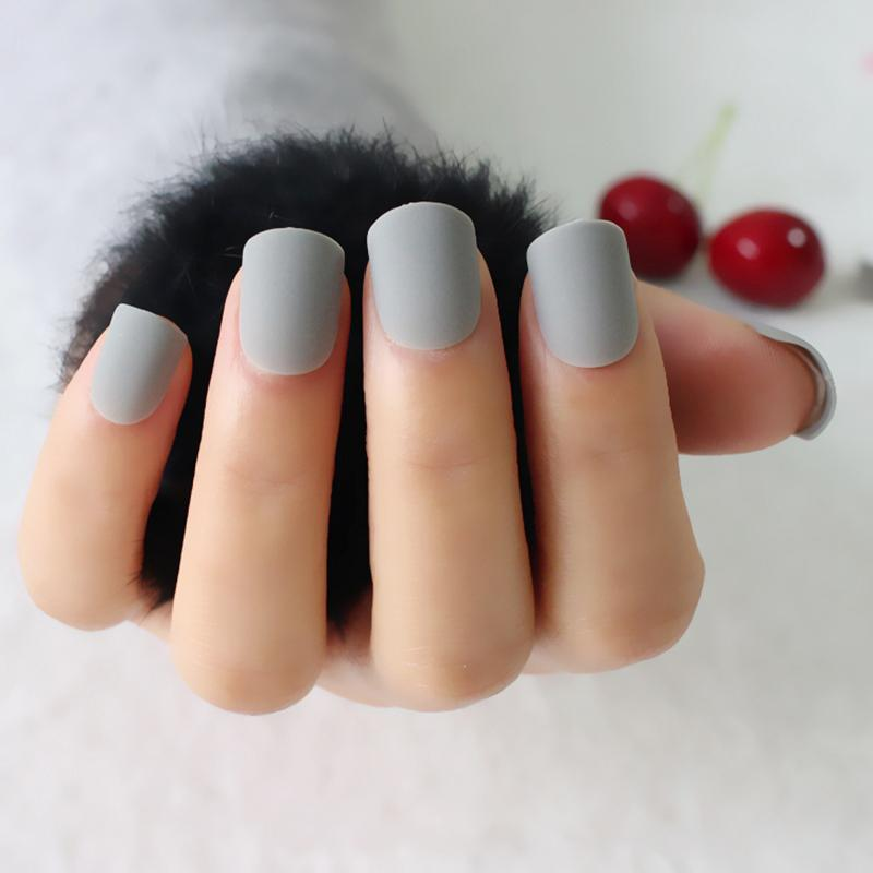 New Fashion Women Matte Candy False Nails Short Round Tail Light ...