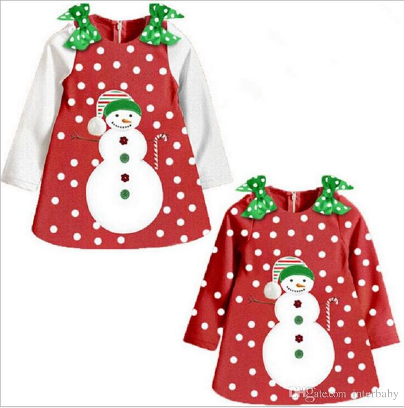 20eb28d6469 2019 Girls Christmas Dresses Toddle Double Shoulder Bows Dress Baby Dot  Snowman Print Children Skirt Autumn Kids Designer Clothes YL497 From  Interbaby