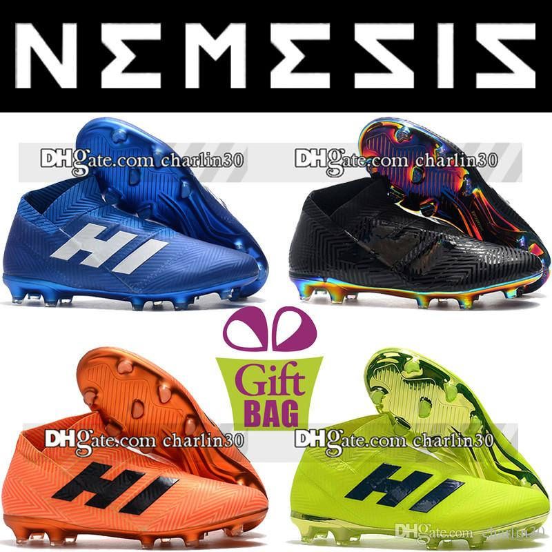 d91f0747 Compre 2018 Barato Tobillo Alto Nemeziz 18+ FG Zapatos De Fútbol Botas De  Fútbol Calidad Tacos Sin Cordones Negro Azul Amarillo Tacos De Fútbol Al  Aire ...