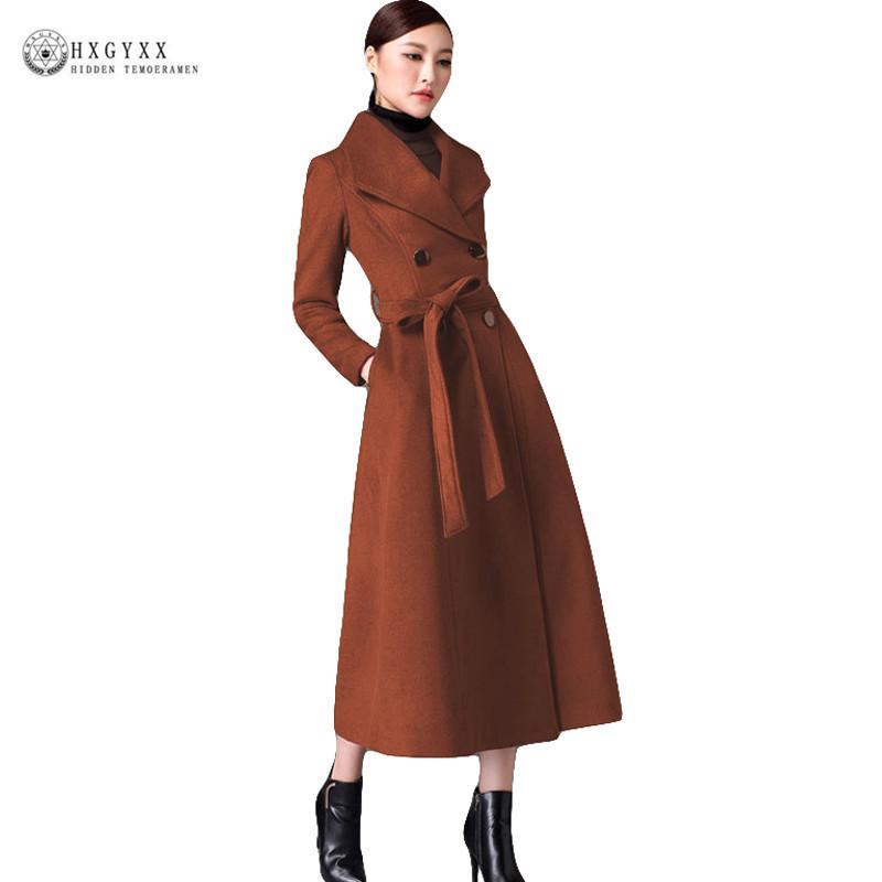 664675e84ac5f Acheter 2018 New Vintage Femmes Mélanges De Laine Manteau Laine Longue Hiver  Double Bouton EleCashmere Veste Femelle Chaud Manteau Wollen Oka771 De  $194.4 ...