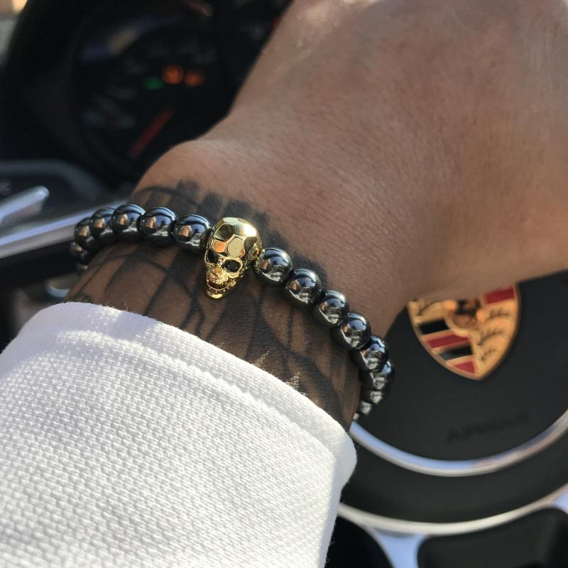 Mcllroy 18-21cm Black Hematite Stone Elastic Bead Bracelet Male Skull Charms Bracelet & Bangle For Womens Men diy skull jewelry