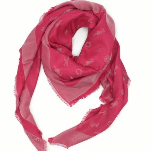 New product knitted silk wool rose red color print pattern square scarf for women size 140cm -140 cm