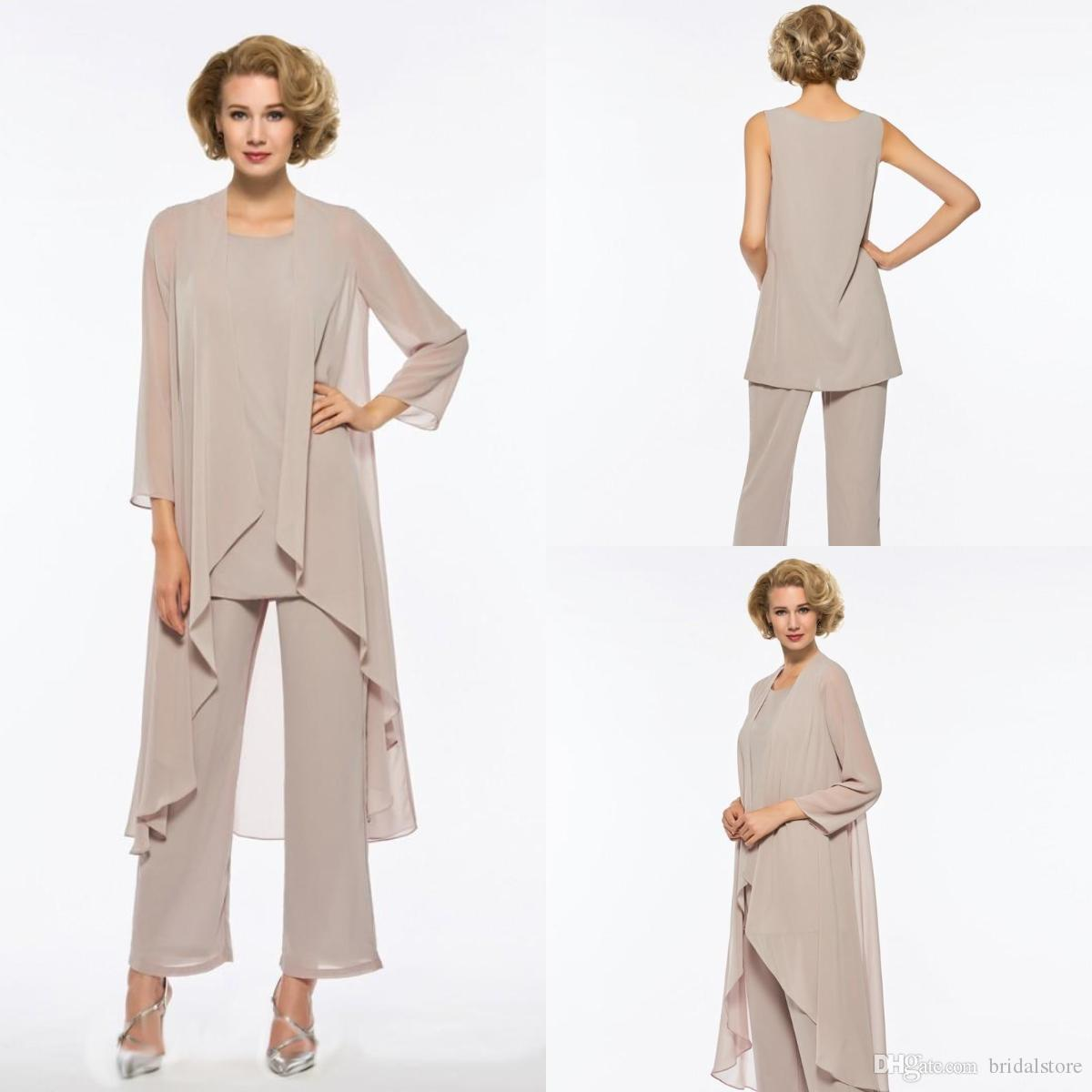 92ca99a3d04a Chic Stylish Mother Of The Bride Pant Suits Elegant Chiffon Beach Wedding  Mother Of Bride Dresses Outfits With Jacket Pant 2018 J0an Rivers Joan Joan  Rivers ...
