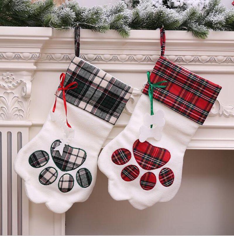 christmas stocking monogrammed pet dog paw gift bag plaid xmas stockings christmas tree ornaments decorations party decor 2 styles yw1028 christmas - Dog Stockings For Christmas