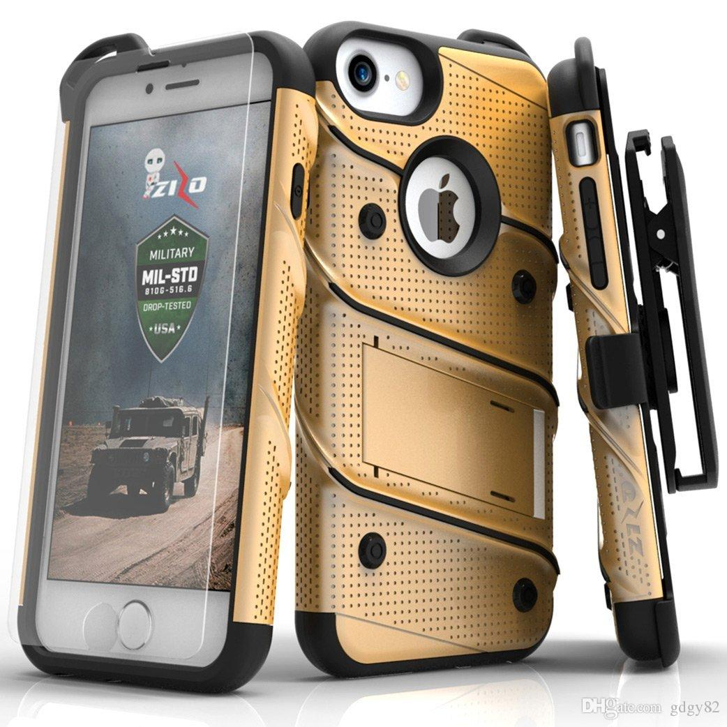 9c6c5a7fa9 GDGY Bolt Series Military Grade Drop Tested Armor Kickstand Holster Belt  Clip Case With Tempered Glass Screen Protector For IPhone 7/ 6s Design Cell  Phone ...