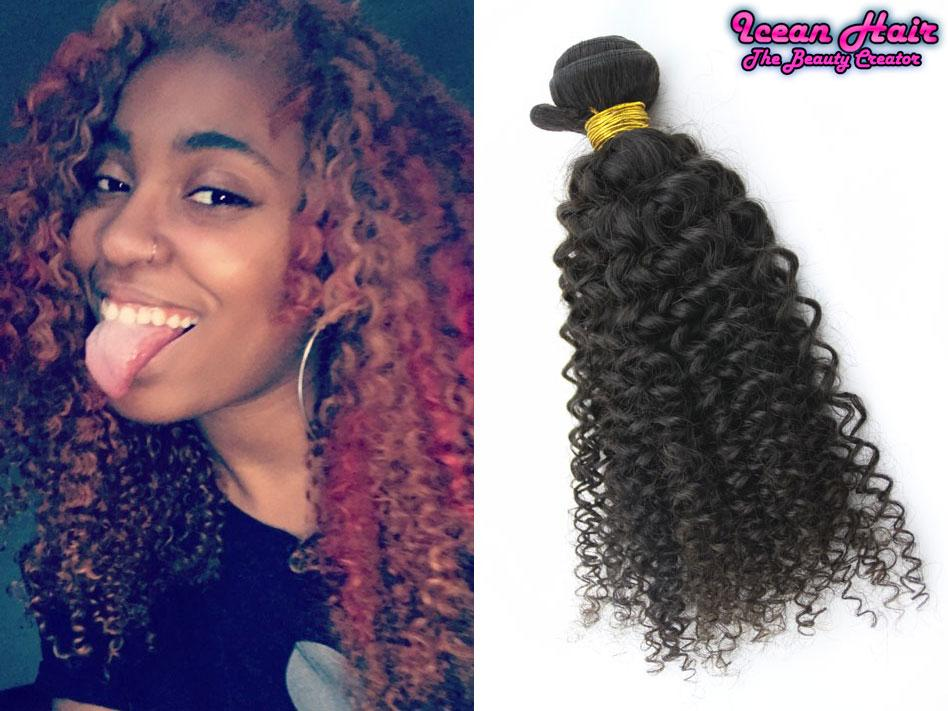 New Arrival Peruvian Virgin Human Hair Weaves Kinky Curly With 1