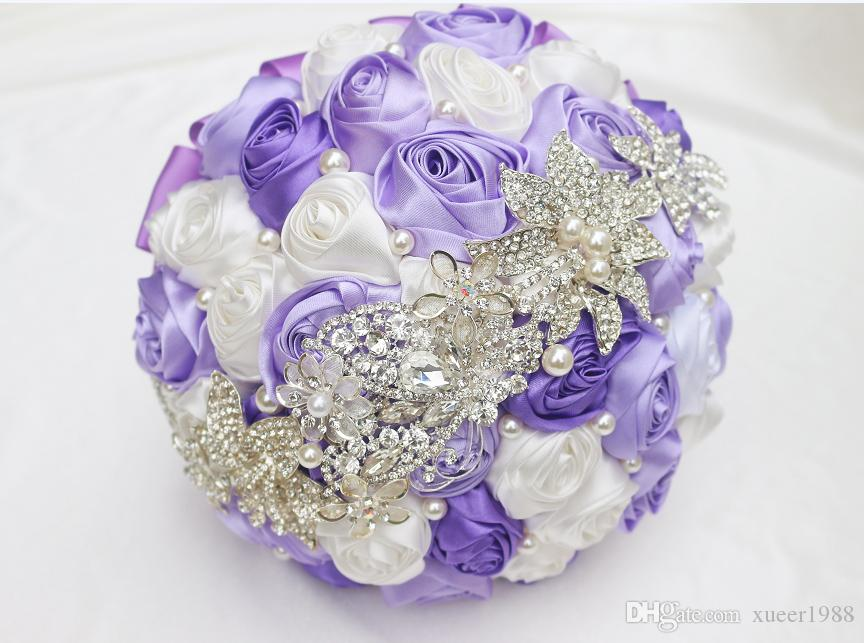 New Purple Bridal Bouquet Silk Bride Bridal Wedding Bouquet Bridesmaid Purple White Fabric Rose Customizable Diamond Bouquet