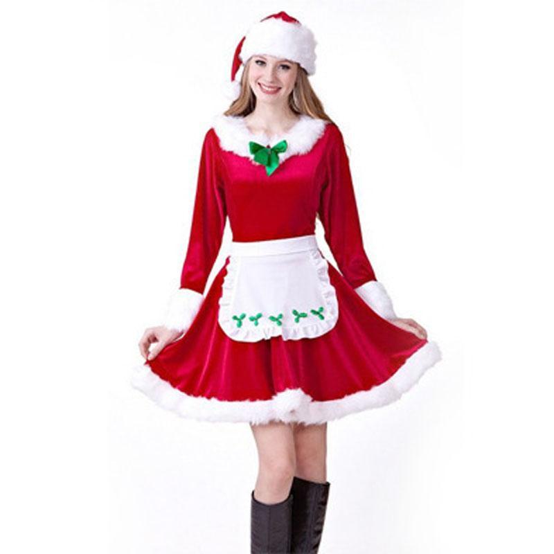 7fafd02b6a365 Acheter Femmes De Noël Cosplay Costumes Femme Rouge Halloween Uniforme Rôle  Jouer Pour Adultes Père Noël Robe Maid Cosplay Costume De  28.42 Du  Fetishqueen ...