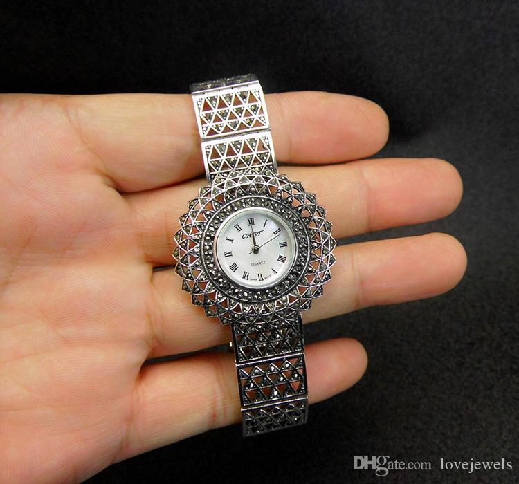 luxury watch designer 925 sterling silver wristwatches round marcasite thai silver women watches quartz brand simple vintage china direct