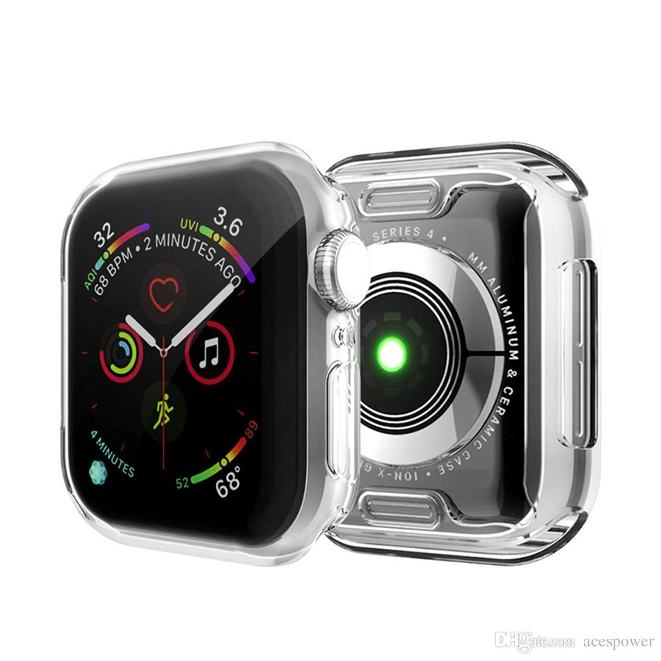 For iWatch 5 4 Case 40mm 44mm 38mm 42mm Clear Soft TPU Cover Series 1 2 3 Screen Protector For Apple Watch 4