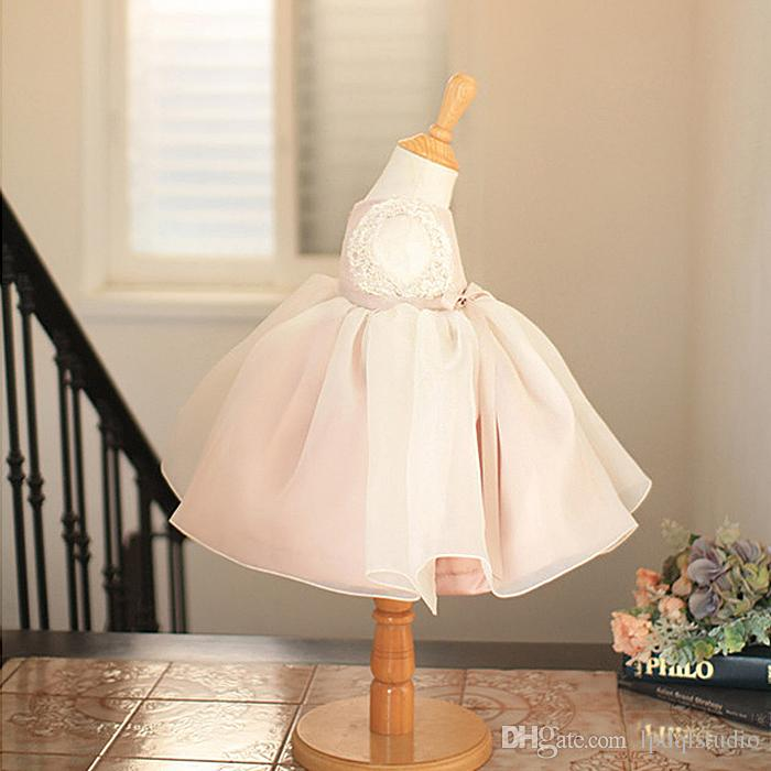 Fancy Blush Flower Girls Dress Cute Ball Gown Girls Party Dresses Lace with Shining Sequins Beads Tea Length Flower Girl Dress