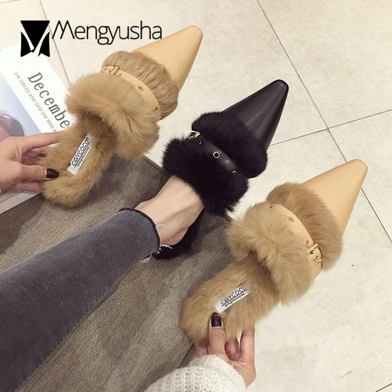 00a28b1bf European Brand Buckle Pointed Toe Mules Slides Ladies Rabbit Fur Low Heeled Slippers  Autumn Winter Furry Flipflops Women Shoes Clogs For Women Shoe Boots ...