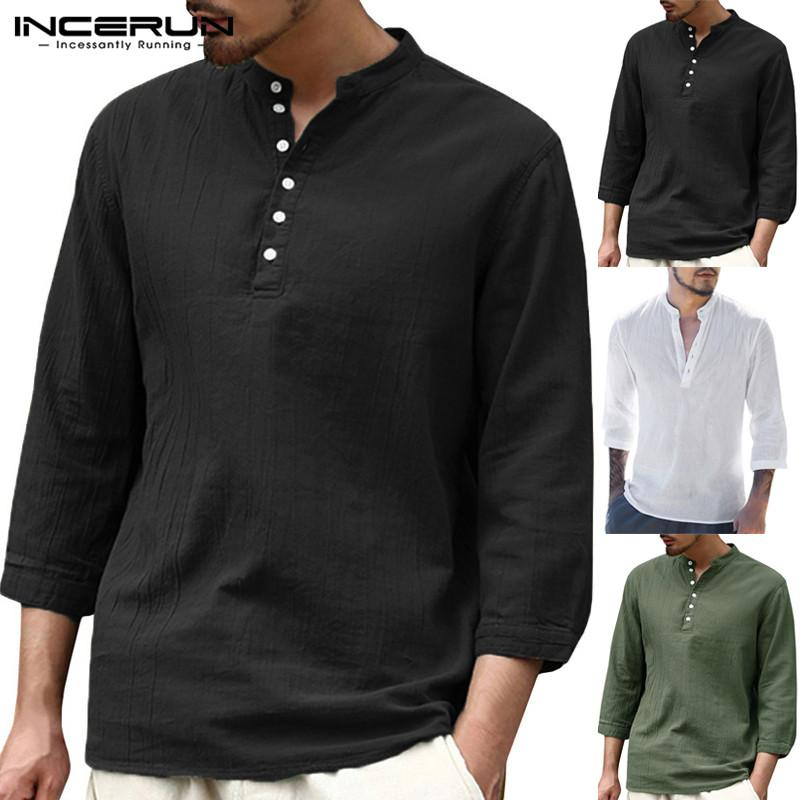 f155c61ed8a5 2019 INCERUN Men Shirt Cotton 3/4 Sleeve V Neck Solid Vintage Male Tops  Slim Fit Casual Blouse Camisa Fashion Shirt Men Plus Size 3XL From  Wochanmei, ...
