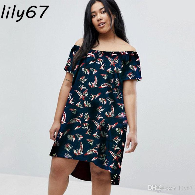 cf9553c3c52 2018 Summer Women Dress Casual Fashion Feather Print Slash Neck Sexy Plus  Size Elegant Large Party Dresses Beach Vestidos Vestidos De Festa Canada  2019 From ...