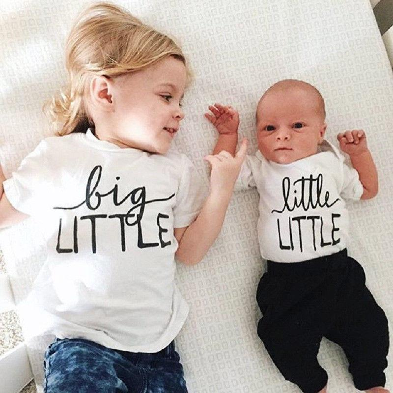 027ac2989 Family Matching Outfits Toddler Baby Boy Girl Brother Sister Bodysuit Tops  T Shirt Summer Baby Clothes Matching Dresses For Sisters Matching Clothes  For ...