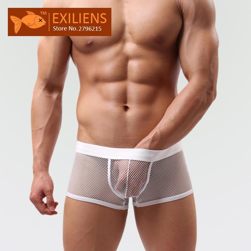 af77f4d3bb1  EXILIENS  Hot Underwear Men s Shorts Boxers Sexy Transparent Solid Grid Panties  Male Brand Man Underpants GAY Solid Size M-XXL