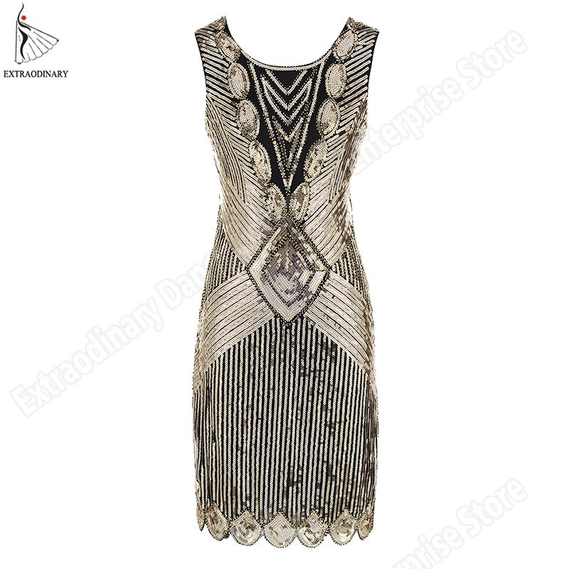 00491e770ff9 2019 Gatsby Party Dress Vintage Sequin Art Deco Double Flapper Dresses O  Neck Party Dress Embellished Sleeveless Deep Women 1920s From Meizuang, ...