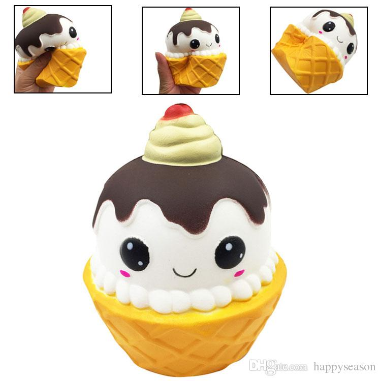 2019 Chocolate Ice Cream Cup Squishy Emoji Torch Slow Rising Squeeze
