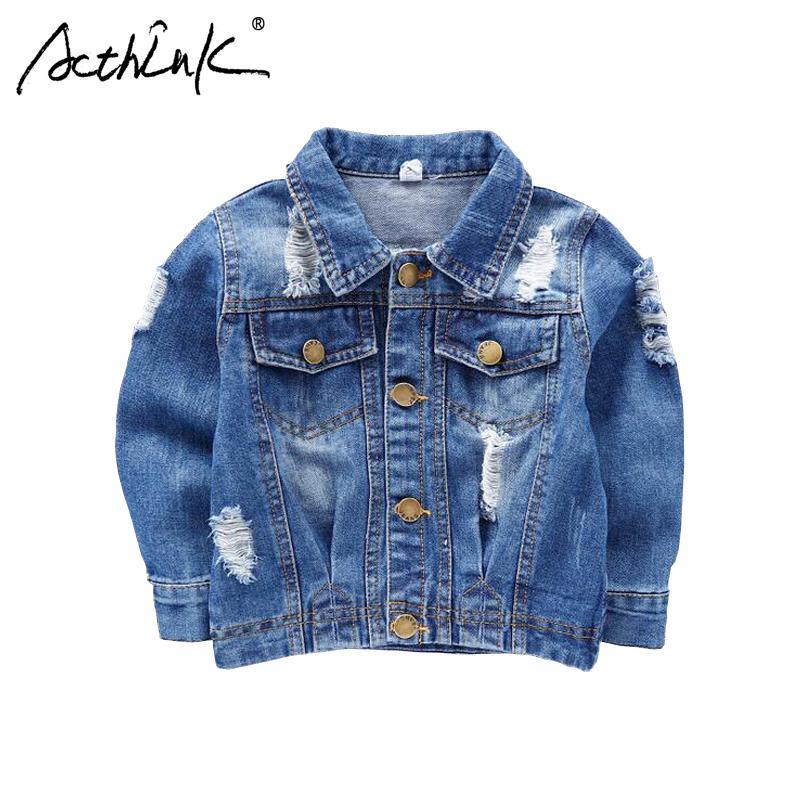 92e6a656f ActhInK New 2018 Boys Ripped Denim Jacket Baby Kids Street Motorcyle  Disstrressed Jeans Jacket Boys Spring Denim Outwear, C178