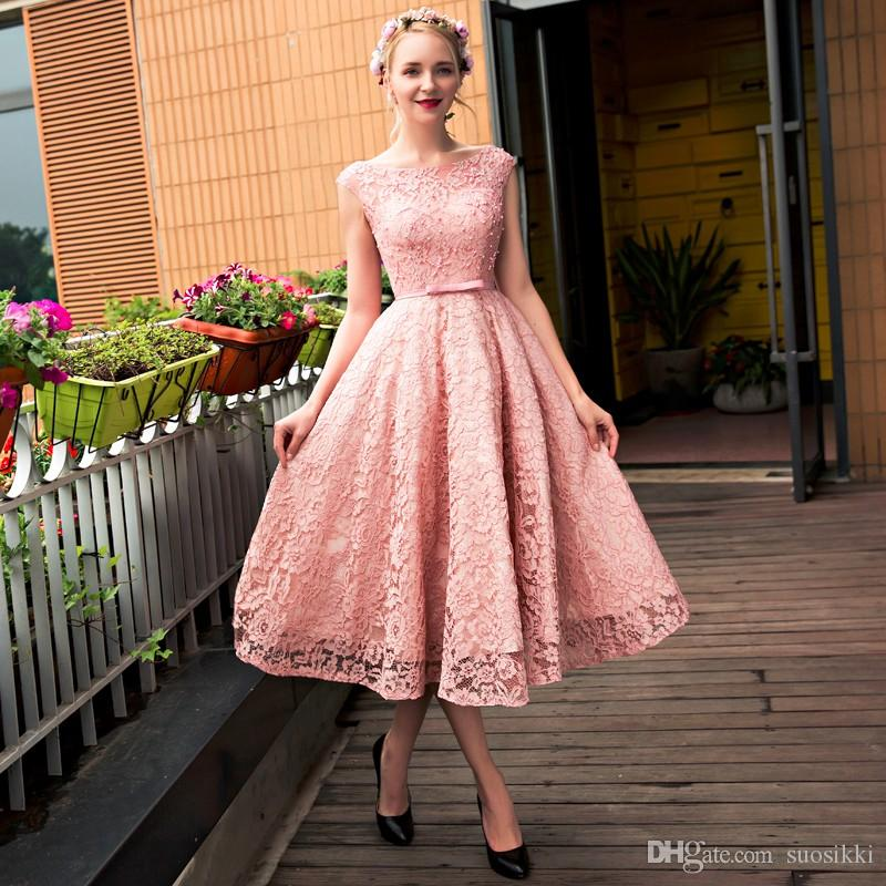 62d44cad69d 2018 New Blush Pink Elegant Tea Length Full Lace Prom Evening Dresses  Sleeves Corset Back Pearls A-line Party Gowns with Bow Evening Dress Formal Prom  Dress ...