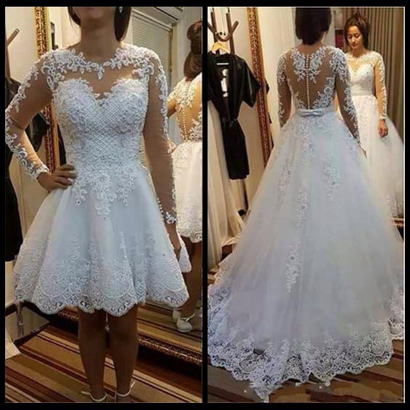 Detachable Skirt Wedding Dresses 2018 Vestido De Noiva De Renda Illusion Long Sleeve Bridal Gowns with Lace Appliques