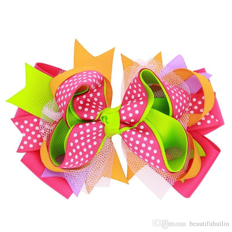 5 Inch Girls Dot Print Layered Ribbon Hair Bows Hairpin Baby Girls Handmade Boutique Hair Clip Beautiful HuiLin DW97