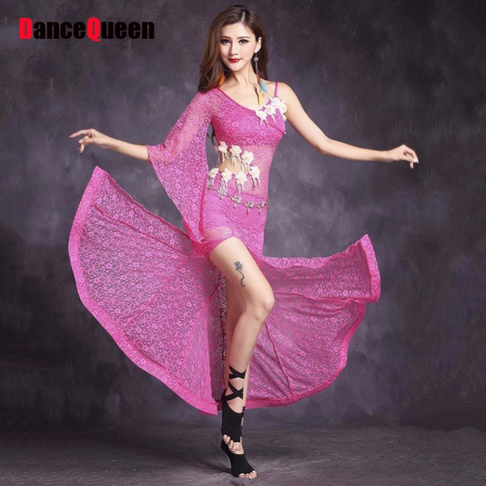 ebf26c4c9203 2019 2018 New Sex Women Belly Dance Dress Lace Single Sleeve M/L Fishnets  Skirt Bollywood Dance Wear Egyptian Belly Costume From Viviant, $62.38 |  DHgate.