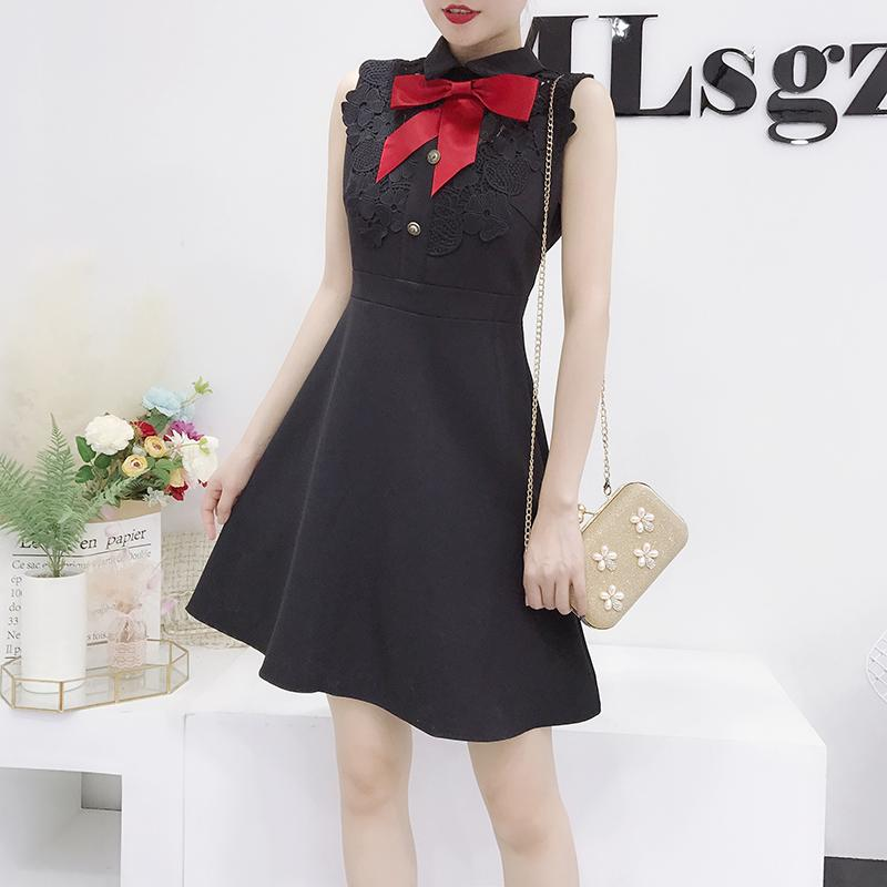 fd416b302a Women Peter Pan Collar Dress Female Summer 2018 New Slim Sleeveless Bow  High Waist Black White Elegant Work OL Vestidos