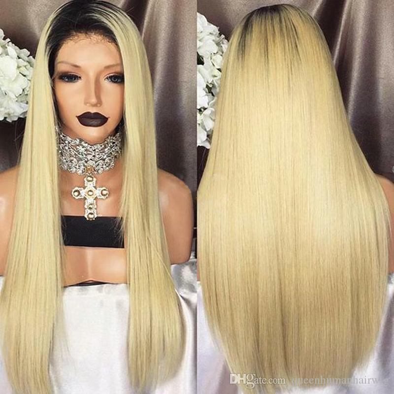 Long Silky Straight High Temperature Fiber 1b/613 Synthetic Lace Front Wig Glueless With Baby Hair Blonde Wigs