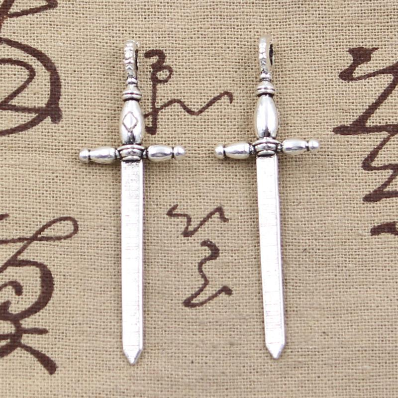 whole sale8pcs Charms sword fencing 59*19mm Antique Silver Plated Pendants  Making DIY Handmade Tibetan Silver Jewelry
