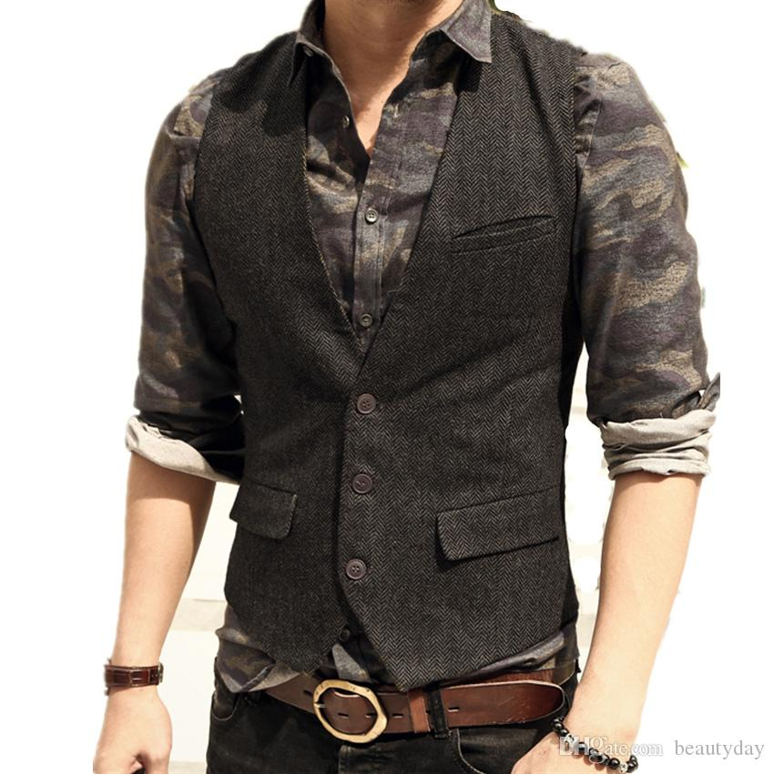 2018 Cheap Groom Wear Vests Country Wedding England Style Vests Custom Made Slim Fit Mens Suit Vest Prom Party Wedding Waistcoat Plus Size