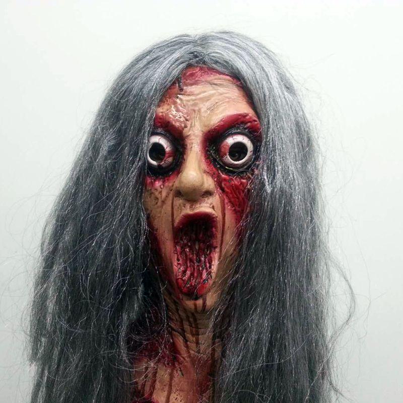 Lady Latex Mask Horror Demon Mask Creepy Zombie Women
