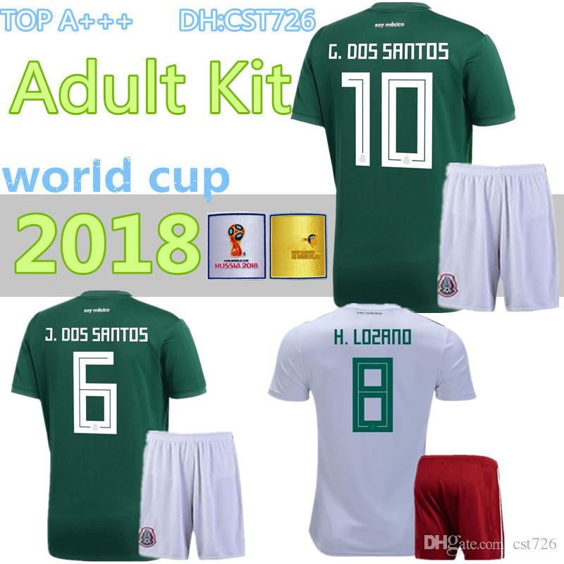 16a14043e 2019 2018 World Cup Soccer Jersey Adult Kits Mexico Home Green CHICHARITO  FABIAN G DOS SANTOS Mexico Away White Men Football Shirt From Cst726, ...