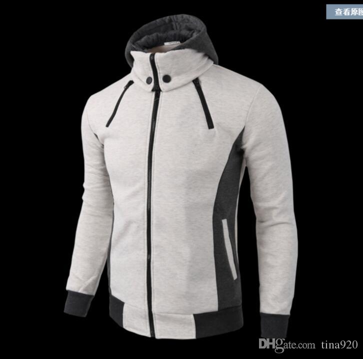 Spring and Autumn New Male Fake Two Pieces Sports Cardigan Casual Men's Clothing Men's Slim Jackets