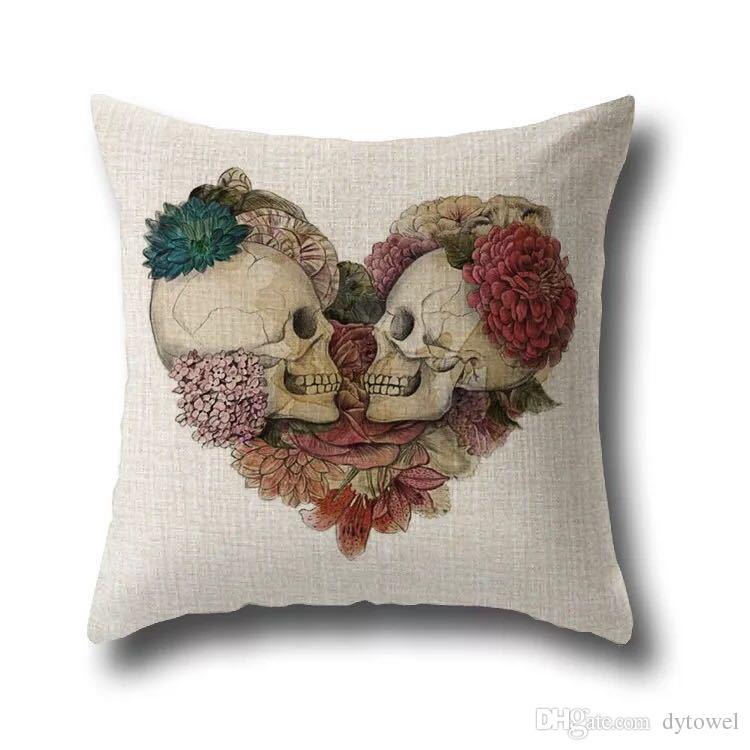Halloween Sugar Skull Pillow Cases cotton Linen Throw Pillow case Pillow Cover Sofa square Pillowcase Cushion Cover Home Textiles 2018
