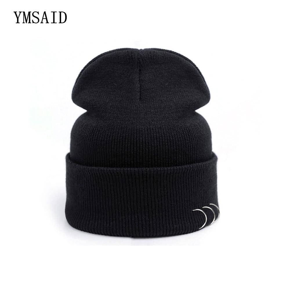 4aa5f9dfaf5 2019 Vogue Black Beanies Hats Harajuku Style Iron Ring Pure Color Cotton  Knit Skullie Couples Hip Hop Punk Caps Unisex Accessories From Shinyday