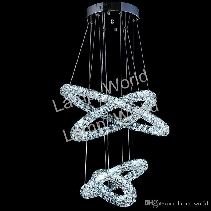 Dimmable Modern Crystal Chandeliers Pendant Light Circle Suspension Dining Room Hanging Lamp Diamond Ring LED Lights Cristal Lustre de sala