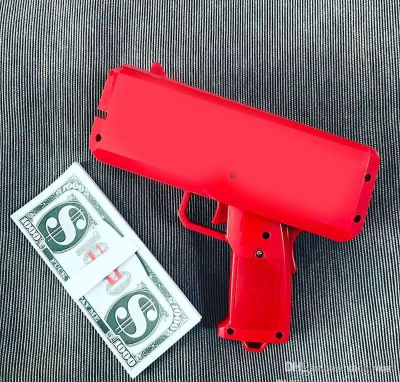 Make It Rain Money Gun Cash Cannon Bills Fashion Party Gift Game Christmas Red Funny Pistol Toy