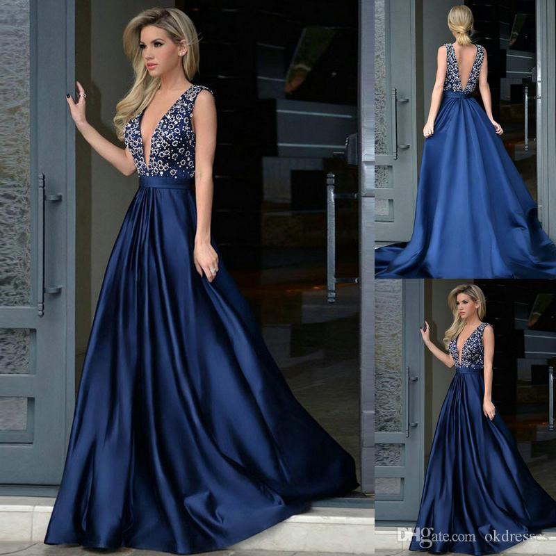b003b8b66 Compre Vestidos De Fiesta 2018 Scoop Neck Lace Satin Vestidos De Noche Largo  Royal Blue Burgundy