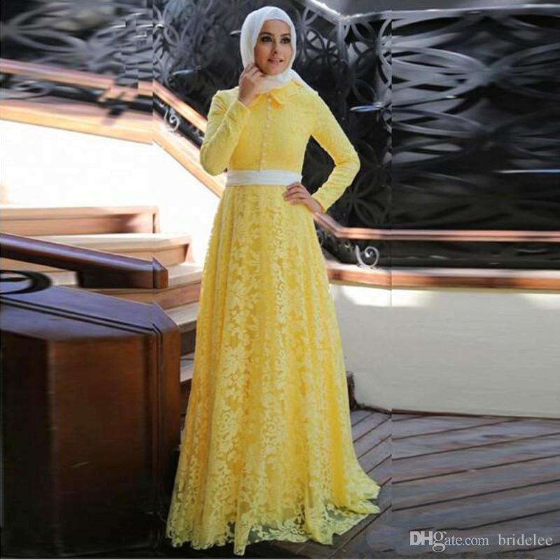 Acheter 2019 Élégant Dentelle Jaune Musulman Robe De Soirée Avec Hijab  Moyen Orient Robes De Soirée À Manches Longues Une Ligne Arabe Robe De Bal  Robe De