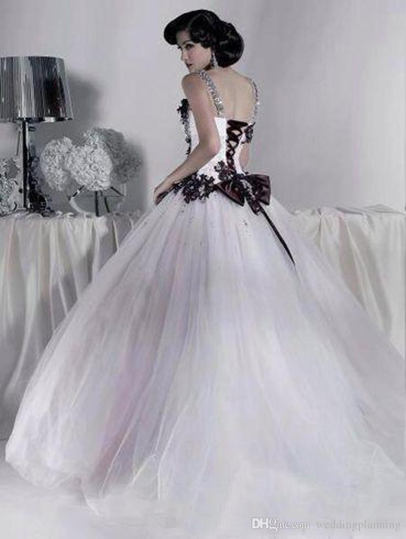 Vestidos de casamento de tule branco e preto vintage 2018 Frisado Spaghetti Strap Gothic Ball vestido espartilho de Halloween vestidos de festa nupcial vestidos longos