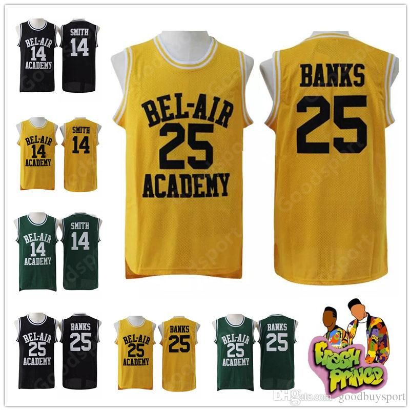 HOT The Fresh Prince of Bel-Air Stitched # 14 Will Smith Jersey Bel-Air Academy Basket Jersey # 25 Carlton Banks Jerseys movie show play