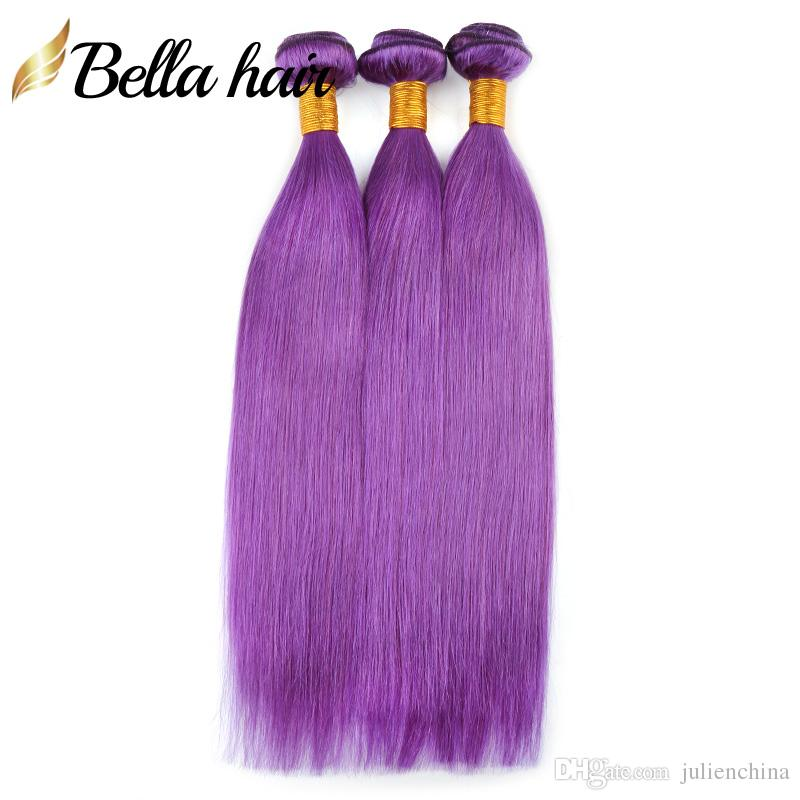 9A Colorful Hair Extensions Pink Blue Green Purple Grey Red Colors Human Hair Weaves Bundles Julienchina Bella Hair Factory Outlets