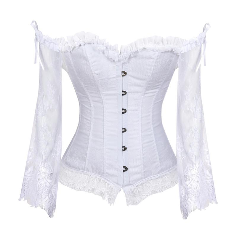 06aaec20ef Bridal Corset Tops for Women with Sleeves Style Victorian Retro Burlesque  Lace Corset And Bustiers Wedding Vest Fashion White Bustiers   Corsets  Cheap ...