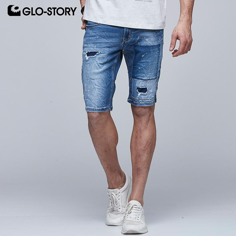 GLO-STORY Men's 2018 Summer Denim Shorts Men Casual Streetwear Hole  Patchwork Distressted Ripped Knee Length Jeans MNK-6268 Denim Shorts Men  Jeans Jeans ...
