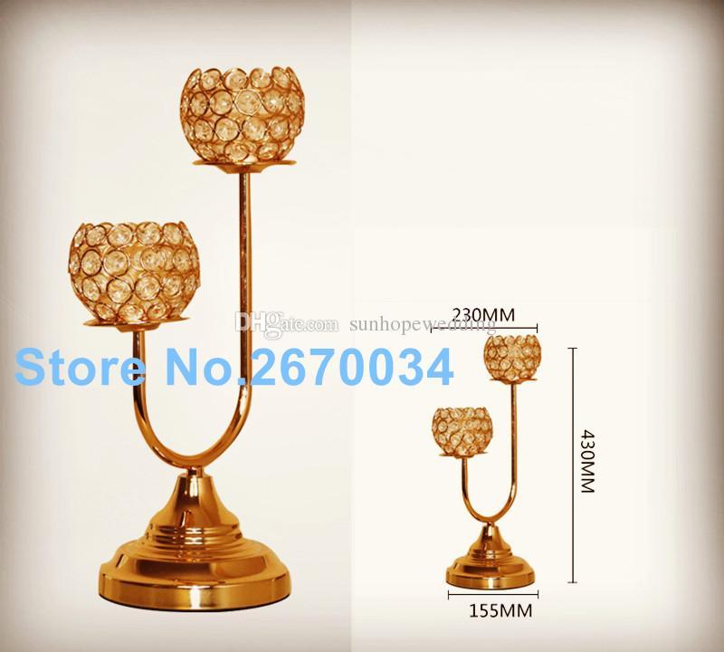 Copa de cristal centros de mesa de cristal de oro para bodas y eventos.