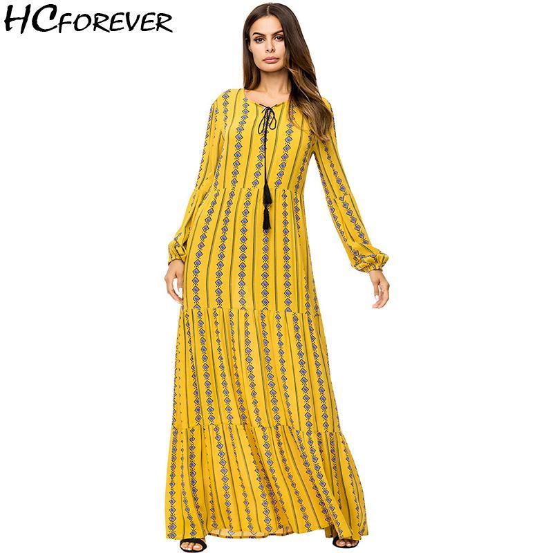 2019 Casual Boho Plus Size Women Maxi Dress Long Sleeve Yellow ...